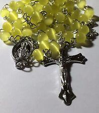 Yellow Cats Eye Catholic Prayer Rosary Beads