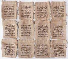 "Lot of 12 BURLAP COFFEE BAGS 5.5"" x 6"" Gunny Sack >NEW< Jute Starwood Bag"