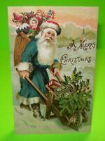 Christmas Postcard Santa Blue Suit With Wheel Barrel German Antique Original