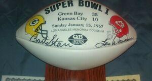 BART STARR & LEN DAWSON Autographed Super Bowl One Commemorative football COA