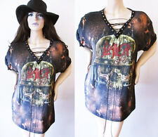 Slayer lace up Bleached shirts dress or tunic S-XL