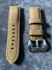 Genuine Leather Strap For 24mm Lugs With Panerai Style Buckle , Tan /Light Brown