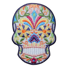 Sugar Skull Day of the Dead Applique Patch - White and Multicolor (Iron on)