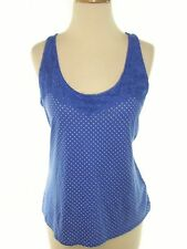 Shirt/Top/Blouse Women's ELLE Blue Sleeveless Knit Lace Neck Tank Size Large NWT