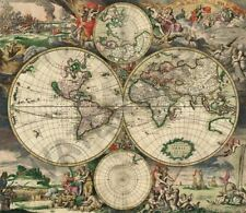 WORLD MAP 1689 INTERESTING OLD WORLD MAP HUGE ART PRINT POSTER LLFGZ0015
