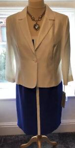 Ladies New Michaela Louisa Formal Dress Suit Cobalt Blue & White  Size 20