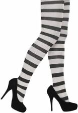 Ladies Stripey Black & White Christmas Halloween Fancy Dress Tights One Size