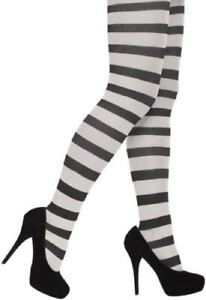 Ladies Stripey Black & White Christmas Halloween Fancy Dress Tights One Size