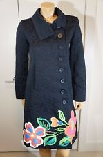 New Desigual Women US 6 Small Floral Black Coat Jacquard Jacket 01E2955 Eu 40