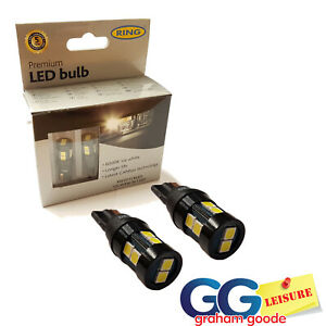 Ring Premium LED 501 Capless Bulbs 6000K White Bulb CANbus T10 Side Light x2