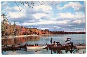 "chrome postcard Saginaw,Michigan,""Goin'Fishin'in Scenic Splendor in MI. docks"