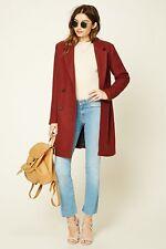 Forever 21 Rust Longline Wool-Blend Coat Medium M