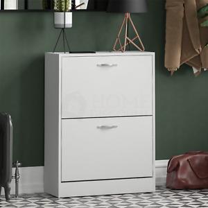 2 Drawer Shoe Cabinet Storage Cupboard Footwear Stand Rack Wooden Unit White New