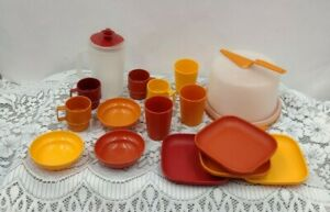 Vintage Children's Tupperware Lot Kids Play Dishes Bowls Cups Glasses