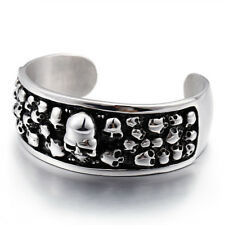 Heavy stainless steel Silver Bracelet Punk Large heavy Skull Cuff bangle 2.6''