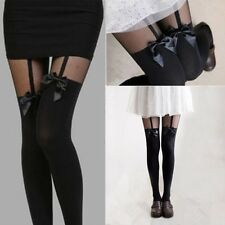 Sexy Korean Style Black Stockings Bow Suspender Tights Pantyhose Tattoo Gifts