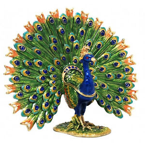 Peacock Fantail Jewelled Bird Trinket Box - Enamelled