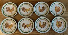 Williams-Sonoma Tuscan Rooster Set of 8 Salad Plates, Ruffled Edges, 2010, Italy