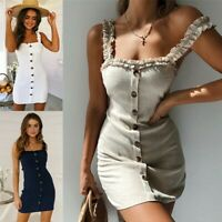 Womens Backless Bodycon Dresses Sleeveless Plain Summer Casual Beach Short Dress