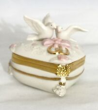 Lenox Ivory Heart Shaped Trinket Box w/ Doves Gold Rings
