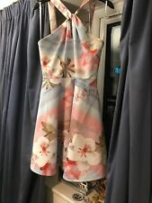 Ted Baker Dress Size 10 Blue Pink Cream Brown Bnwt