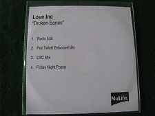 LOVE INC.. Broken Bones   (4 Track CDR Promo Single)
