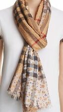 NWT 100% Authentic Burberry Floral Giant Check Gauze Scarf 220X70CM $435