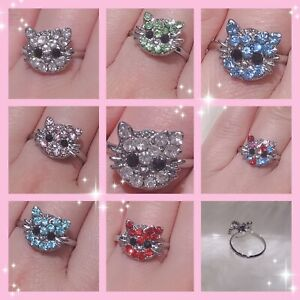 Adjustable Kitty Cat Women Lady Girls Resizable Diamante Finger Rings Party Gift