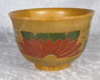 Vintage Japanese Hand Made Turned Wood Bowl Flowers 5-1/2 inch Diameter Japan