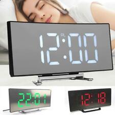 Digital Alarm Clock LED Mirror Display Temperature Snooze Table USB Bedroom