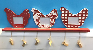 Hen shelf with photo frames pegs note holder to do family notices lists chicken