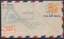 CUR. 45 CT.LP. OP R-COUVERT WILLEMSTAD-COLOMBIA 10.12.41, SCHAARS TARIEF Ad780
