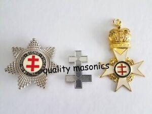 masonic regalia-MASONIC KNIGHTS TEMPLAR (KT) PRECEPTORS JEWELS  ( 3 JEWELS) NEW