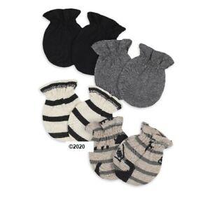 Gerber Baby Boy 4-Pack Organic Cotton Gray/Black Dinosaurs Mittens Size 0-3M
