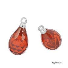 Sterling Silver Orange Red CZ Teardrop Dangle Pendant Earring Charm Beads #98209