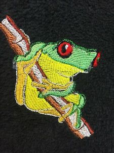 Embroidered Black Bathroom  Hand Towel HS0960 Tree Frog  on a Branch