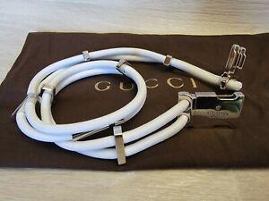 Auth Gucci White Stretch Rope Metal Silver Buckle Waist Belt Women Sz 30 ~ 34 in