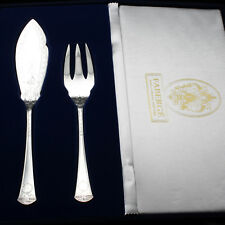 Faberge Imperial Court Fish Serving Fork & Knife Sterling Silver in Gift Box