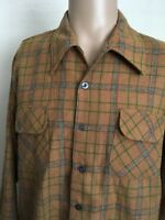 VTG 60s ~ TOWNCRAFT PLUS WOOL BOARD SHIRT ~ Khaki/Green/Gray ~ XL ~ Surf ~ 60s