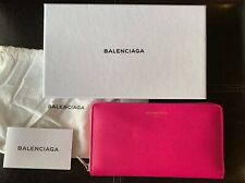 Balenciaga Continental Zip Around Leather Long Wallet Color Rose Fluorescent