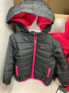 NEW Nike Toddler's BOYS /GIRLS Zip Front Rush Pink / Black Hooded Puffer Jacket