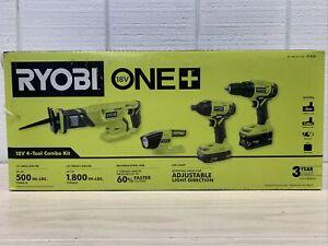Ryobi ONE+ P1818 18V Cordless 4-tool Combo Kit Li-ion Batteries Charger NEW