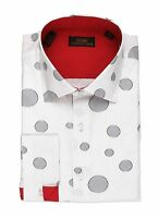 Steven Land Men's Polka Dot White 100% Cotton Single Cuff Dress Shirt DA533