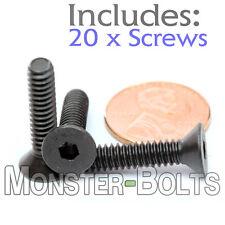 "#10-24 x 7/8"" - Qty 20 - FLAT HEAD Socket Cap Screws - Alloy Steel Black Oxide"