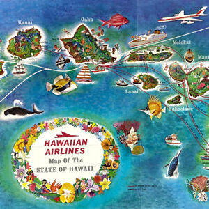 Vintage 1967 Fly Hawaiian Airlines Brochure Map Maui Kauai Molokai Lanai Oahu