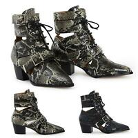 Ladies Black Snake PU Lace Up Buckle Ankle Womens Boots