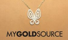 14k Gold Fancy CZ Butterfly Yellow Gold Necklace Adjustable
