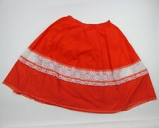 Vintage Red Square Dancing Lace Skirt CareFree Fashions Boho Prairie Size L/Xl