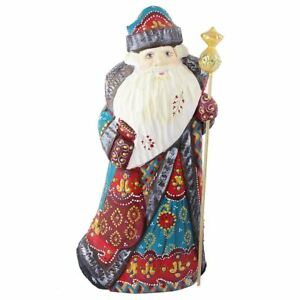 Hand Carved, Solid Wood Turquoise Robe Santa
