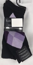 Van Heusen Mens Socks 4 Pairs Black Purple Argyle Polyester Spandex NEW